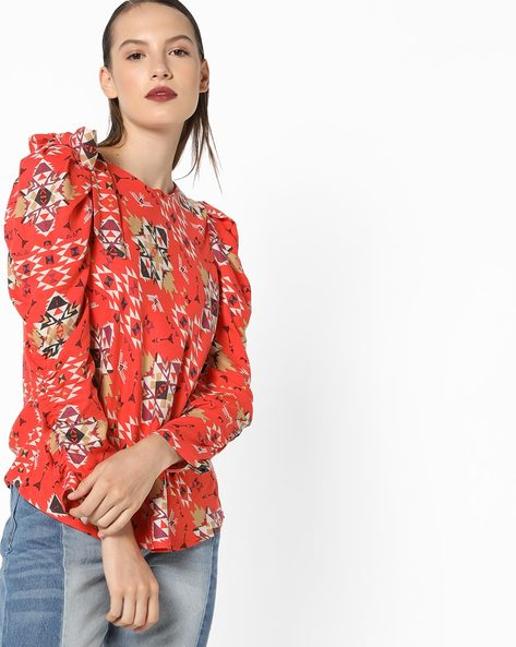 Printed Top With Shoulder Tie-Up By AJIO ( Orange )