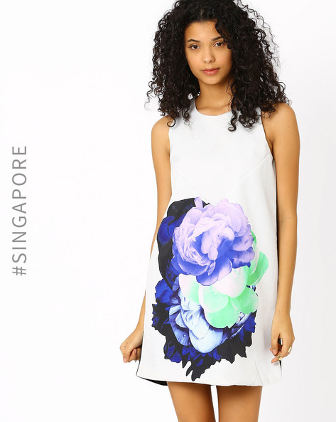 Floral Print Shift Dress By MDS ( Grey )