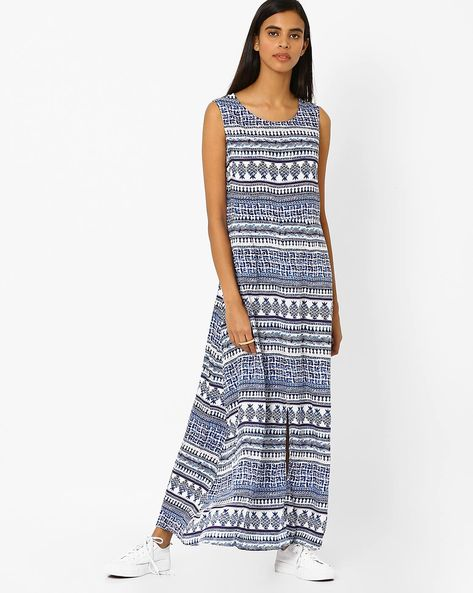 Printed Sleeveless Maxi Dress By Akkriti By Pantaloons ( Indigo )