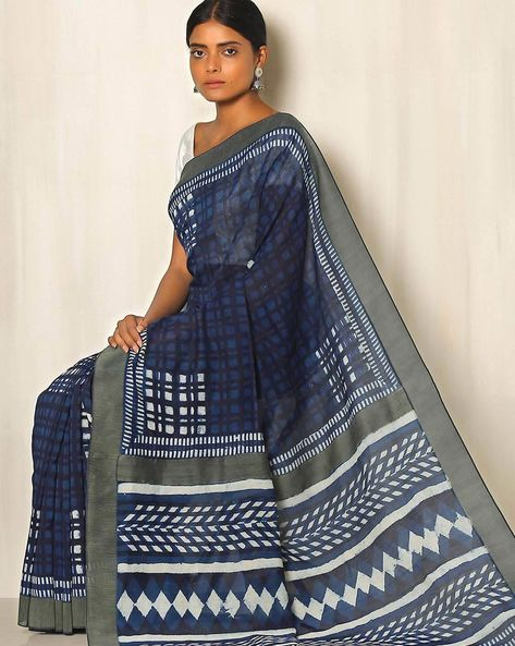 Dabu Handblock Print Indigo Chanderi Saree With Ghicha Border By Indie Picks ( Indigo ) - 460050660001