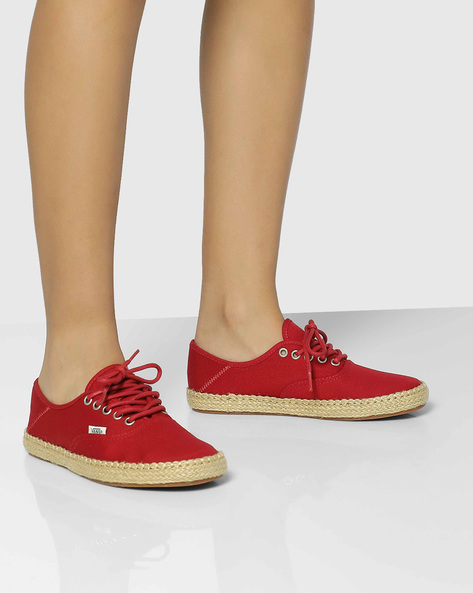 Authentic Casual Canvas Shoes By Vans ( Red )