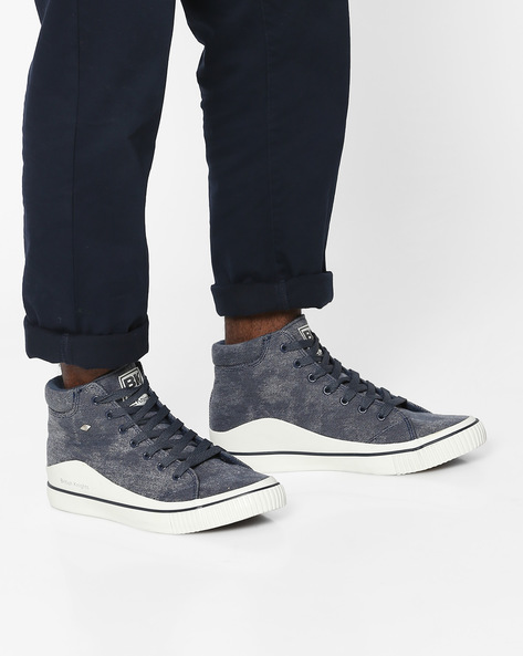 Textured Mid-Top Casual Shoes By British Knights ( Blue )
