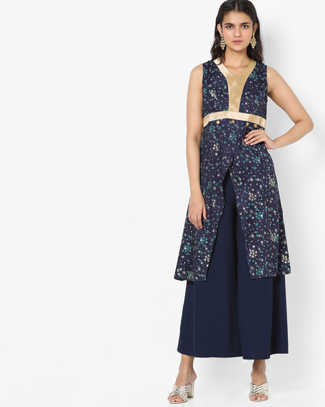 Printed Tunic With Front Slit By Akkriti By Pantaloons ( Navy )