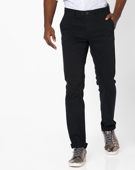 Mid-Rise Flat-Front Dobby Chinos By NETPLAY ( Navy )