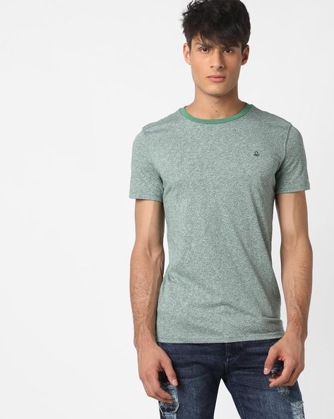 Crew-Neck T-shirt With Grindle Effect By UNITED COLORS OF BENETTON ( Green )