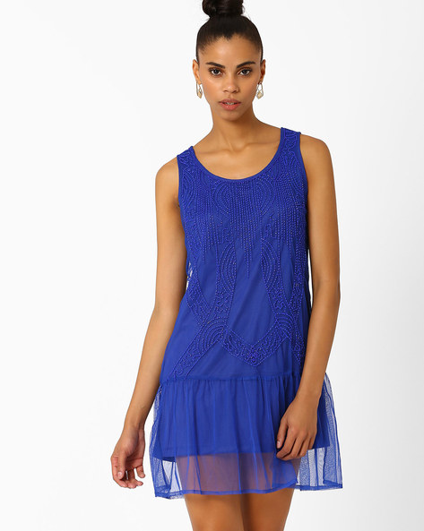 Sequinned Dress With Ruffled Hems By AJIO ( Navyblue )