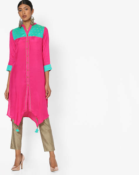 High-Low Tunic With Contrast Yoke By Indian Ink ( Pink )