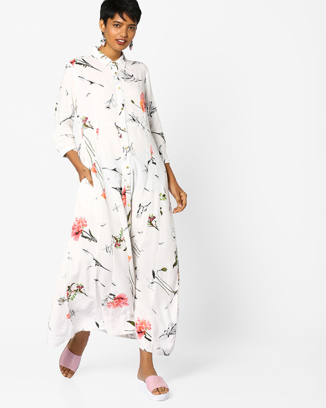 Floral Print Maxi Shirt Dress By PE WW Casual ( Offwhite )