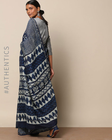 Handblock Indigo Print Chanderi Saree With Zari By Indie Picks ( Indigo )
