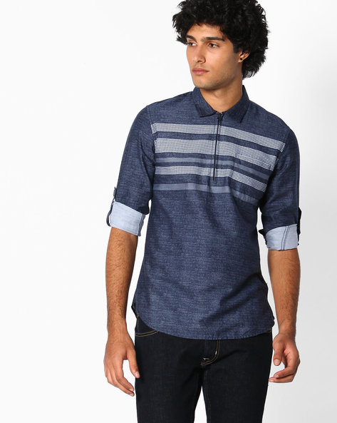 Cotton Slim Fit Shirt By The Indian Garage Co ( Indigo )