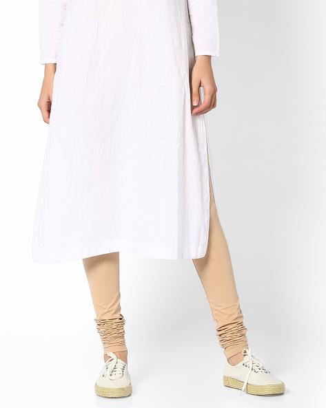 Mid-Rise Churidar Leggings By Global Desi ( Beige )