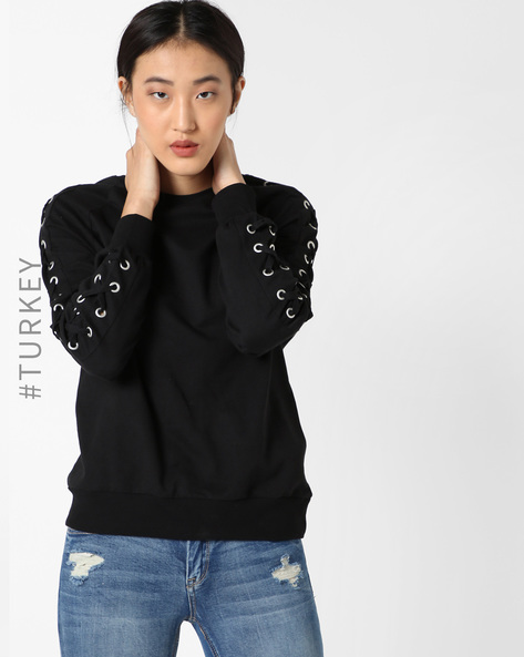 Crew-Neck Sweatshirt With Lace-Up Sleeves By TIFFANY & TOMATO ( Black )