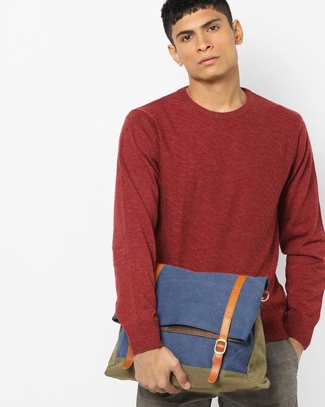 Messenger Bag With Contrast Trims By AJIO ( Blue )