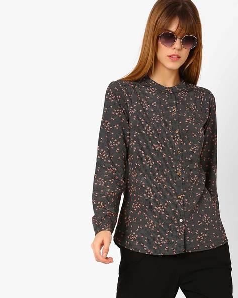 Polka-Dot Print Shirt With Mandarin Collar By Annabelle By Pantaloons ( Black )