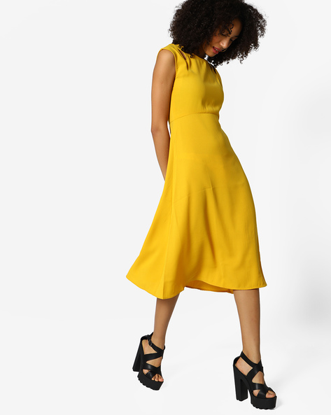 Fit & Flare Dress With Cap Sleeves By Femella ( Mustard )
