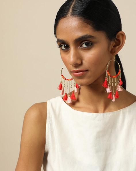 Beaded Dangler Earrings With Tassels By Indie Picks ( Red ) - 460189687001