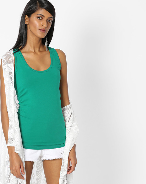 Racer-Back Cotton Top By Pink Woman ( Green )