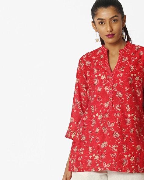 Floral Print Kurta With High-Low Hemline By Biba ( Red )
