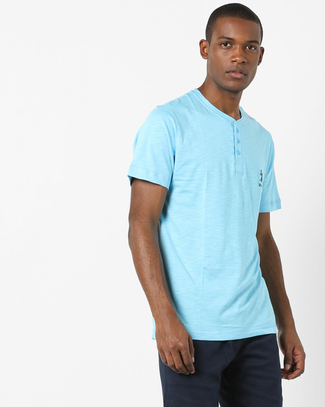 Henley T-shirt With Slub Effect By US POLO ( Ltblue )