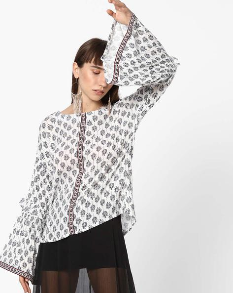 Printed Top With Bell Sleeves By FIG ( White )