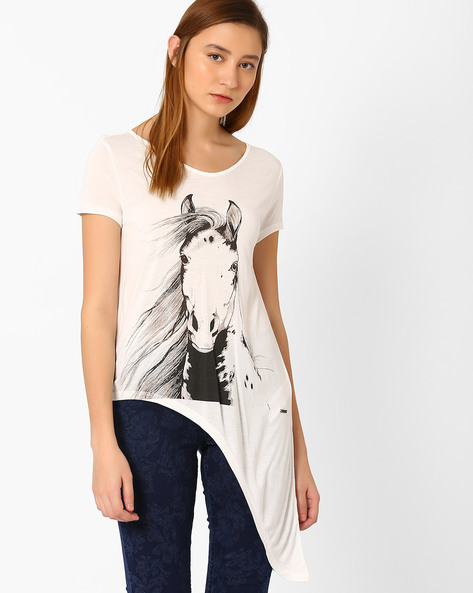 Graphic Print Top By Vero Moda ( White )