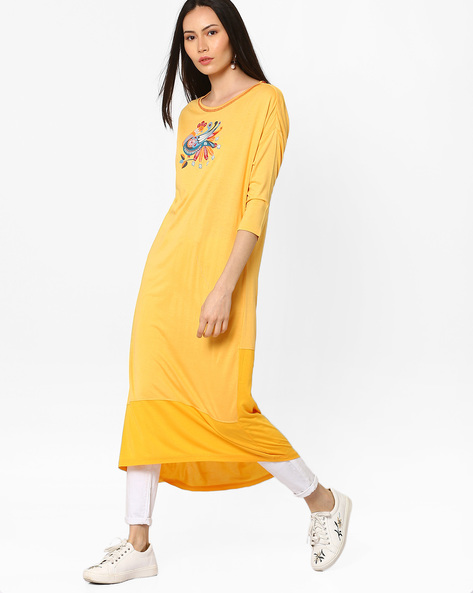 Drop-Shoulder Cut & Sew Kurta By AJIO ( Yellow )