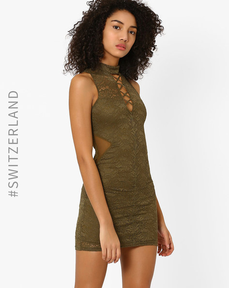 Lace Bodycon Dress By TALLY WEiJL ( Olive )