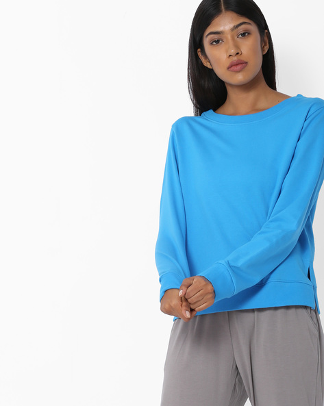 Crew-Neck Sweatshirt With Vented Hem By Blue Saint ( Blue )