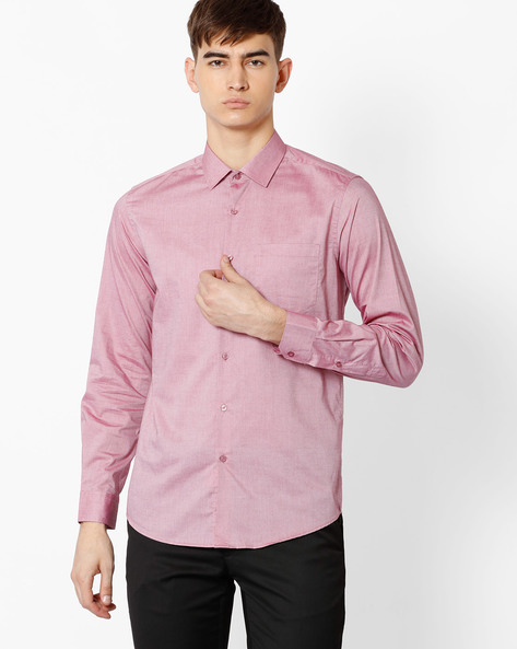 Slim Fit Cotton Shirt By Black Coffee ( Red )