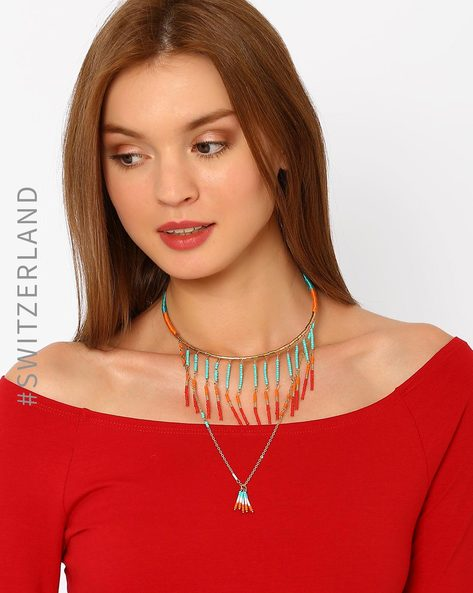 Layered Beaded Necklace By TALLY WEiJL ( Gold )