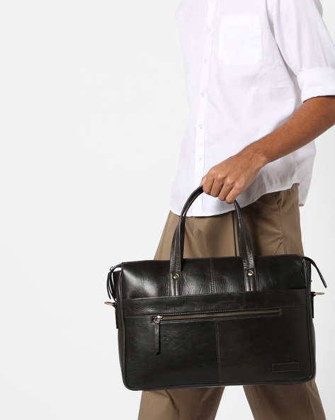 Genuine Leather Laptop Bag By JUSTANNED ( Olive )
