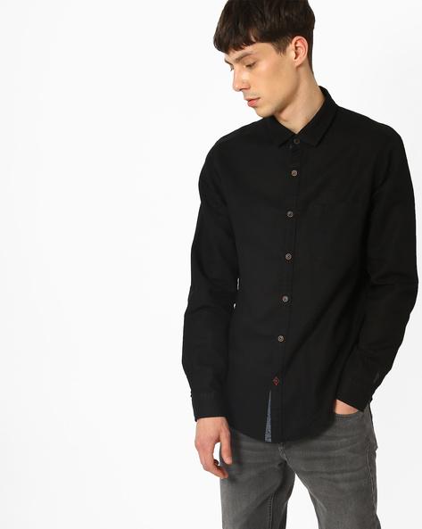 Poplin Shirt With Patch Pocket By AJIO ( Black )