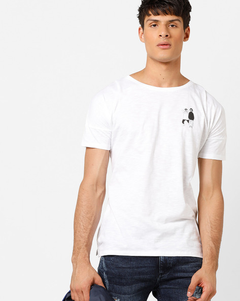 Crew-Neck T-shirt With Graphic Print By AJIO ( White )