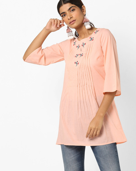 Embroidered Tunic With Pintucks By AJIO ( Ltpink )