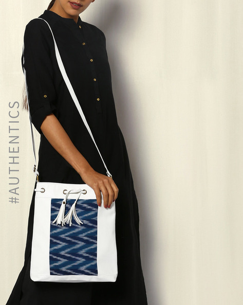 Handwoven Ikat Vegan Leather Sling Bag By A BIG INDIAN STORY ( White ) - 460083810001