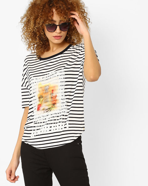 Striped T-shirt With Dropped Sleeves By RIO ( White )