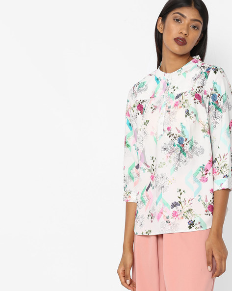 All-Over Floral Print Top By Project Eve WW Casual ( Offwhite )