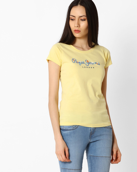 Printed Cotton T-shirt By Pepe Jeans ( Yellow )