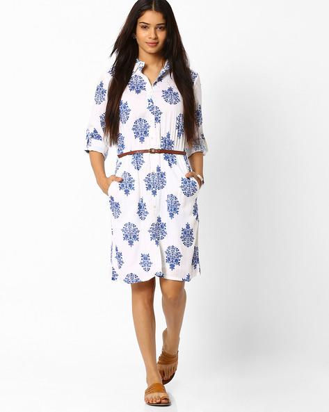 Handblock Print Shirt Dress By Akkriti By Pantaloons ( Offwhite )