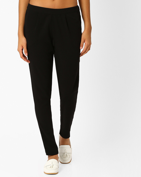 Slim Fit Ankle-Length Trousers By Vero Moda ( Black )