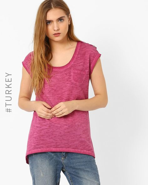Slub Knit T-shirt With Cap Sleeves By TIFFANY & TOMATO ( Fuschia )