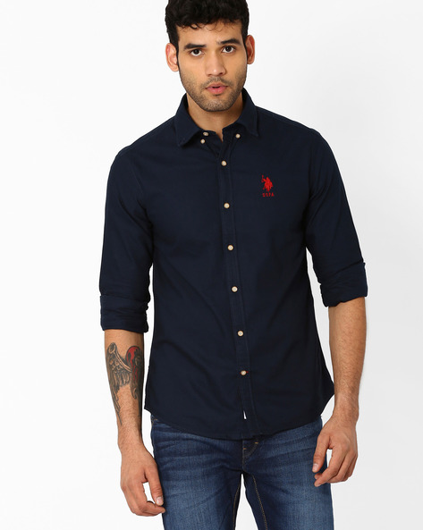 Tailored Fit Shirt With Button-Down Collar By US POLO ( Navy )