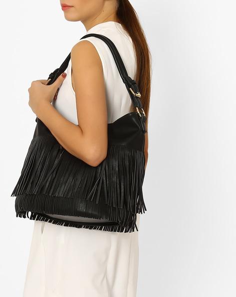 Shoulder Bag With Fringes By Carlton London ( Black )