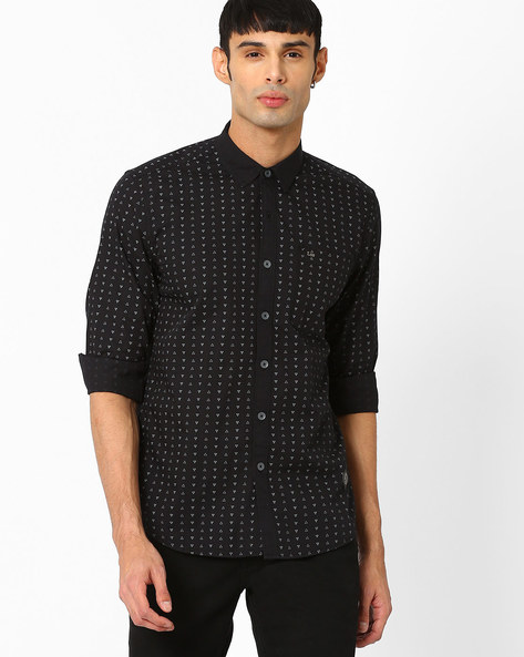 Slim Fit Shirt With All-Over Print By Lee ( Black )