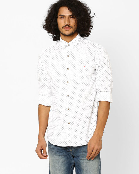 Geometric Print Slim Fit Shirt By Wills Lifestyle ( White )