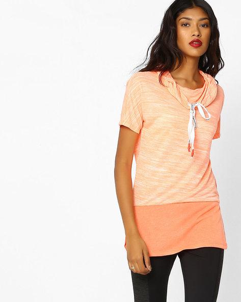 Striated Knit Longline Top By Teamspirit ( Orange )