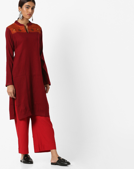 Straight Kurta With Contrast Yoke By SIYAHI ( Red )