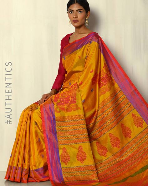 Arani Pure Silk Handloom Saree With Mina Buti By Pretty Woman ( Yellow )