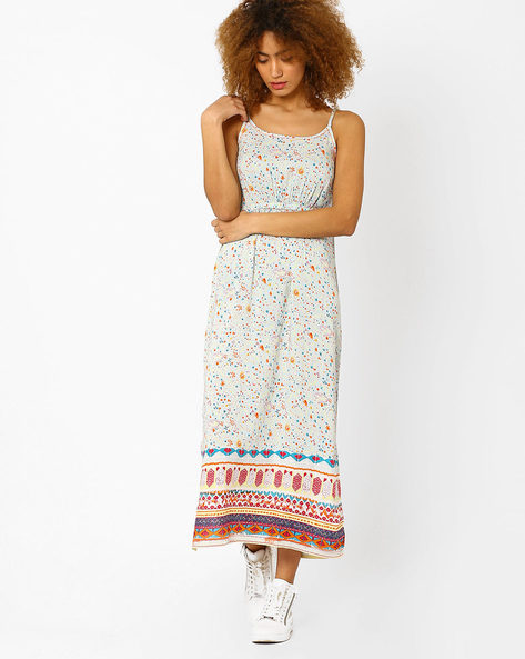 Printed Maxi Dress By AJIO ( Aqua )