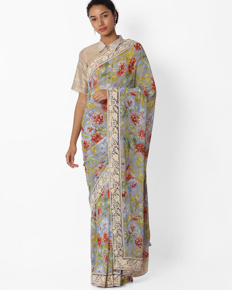 Floral Printed Saree With Lace Border By VIPUL ( Grey )
